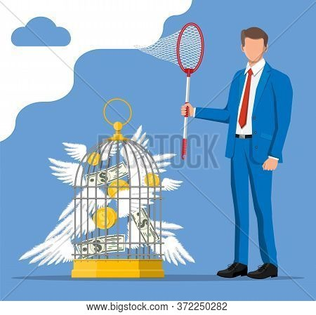 Businessman With Butterfly Net And Cage Chasing Money. Dollar Banknotes And Gold Coins With Wings In