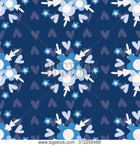 Geometric Wild Meadow Flowers Seamless Vector Pattern Background. Backdrop Of Bouquets Of Hand Drawn