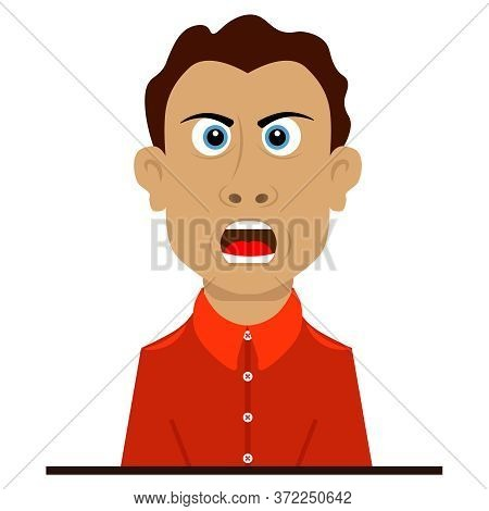 The Indignant And Angry Person Shouts And Is Indignant. Vector Illustration On The Theme Of Emotions