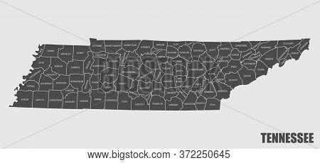 The Tennessee State County Map With Labels