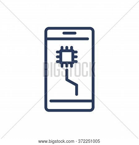 Mobile Phone With Microchip On Screen Thin Line Icon. Cpu, Microprocessor, Microchip Isolated Outlin