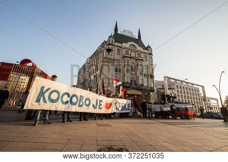 Belgrade, Serbia - February 17, 2019: Protestors Standing In Downtown Belgrade Opposing The Kosovo I