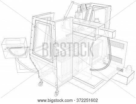 Metalworking Cnc Milling Machine Isolated. 3d Rendering. Wire-frame. The Layers Of Visible And Invis