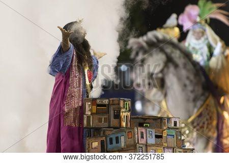 Rio, Brazil - February 23, 2020: Parade Of The Samba School Mangueira, At The Marques De Sapucai Sam