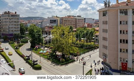 Eskisehir, Turkey - June 19, 2018: Aerial View Of People Walking In The City Center On A Sunny Summe