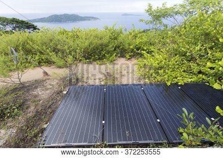 La Digue, Seychelles - April 27, 2019: Solar Panels In La Digue Island, Seychelles