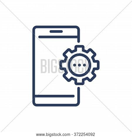 Smartphone With Gear Thin Line Icon. Cog, Cogwheel, Setup Isolated Outline Sign. Phone Repair, Servi