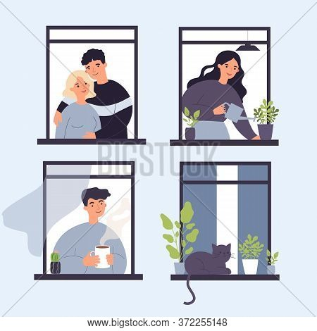 Neighbor People And Cat Life Through Open Windows. Housemates Hugging, Watering Houseplants, Drinkin