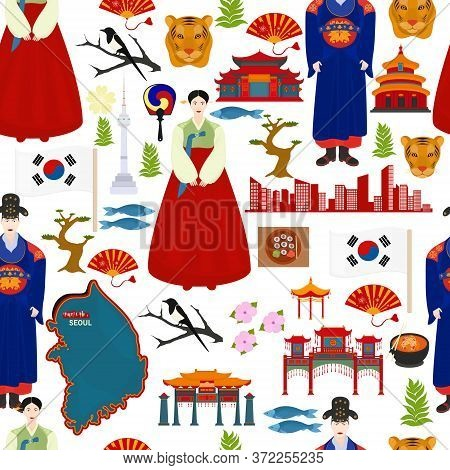 Seamless Vector Pattern With Traditional Korea Symbols. Travel To Korea.