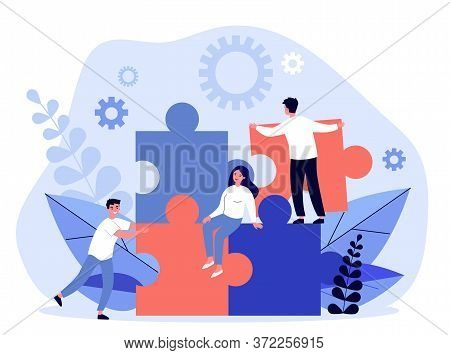 Business Team Constructing Jigsaw Solution. People Connecting Big Pieces Of Puzzle. Illustration For