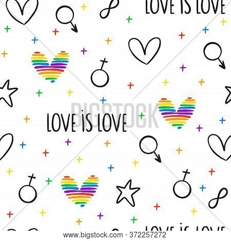 Never-ending Seamless Pattern With Lgbt Hearts, Gender Symbols And Stars. Gay Pride. Pride Month. Lo