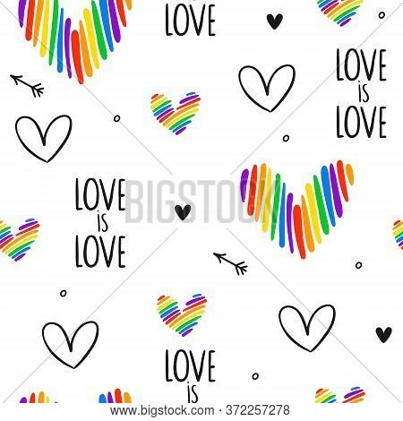 Never-ending Seamless Funny Pattern With Lgbt Hearts, Text, Hearts And Arrows. Gay Pride. Pride Mont