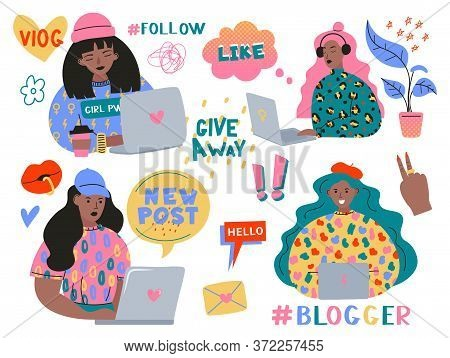 Collection Of Symbols Of Feminism And Body Positivity Movement. Set Of Colorful Stickers With Femini