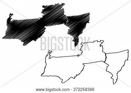 Para District (surinam, Republic Of Suriname) Map Vector Illustration, Scribble Sketch Para Map