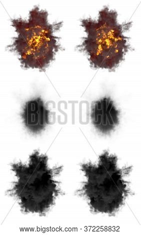6 Round Explosions Of Rocket Interception Blast Or Ack-ack Shell Hit Or View From Top On Bang Isolat