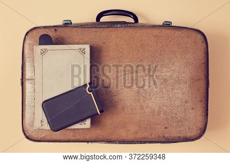 Travelling Background. Travelers Blog. Vlogging And Blogging Concept. Retro Suitcase, Old Book And P