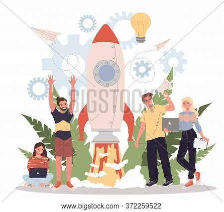 Business Project Start Flat Illustration. Idea Realization Through Teamwork, Planning, And Strategy