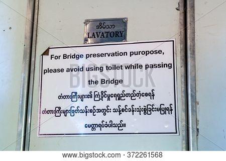 Sign In A Train Crossing Gokteik Viaduct, Myanmar. It Says: For Bridge Preservation Purpose, Please