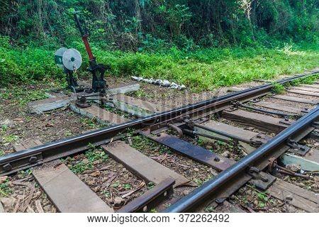 Railroad Switch Near Gokteik Gok Teik Viaduct On The Railway Line Mandalay - Hsipaw, Myanmar
