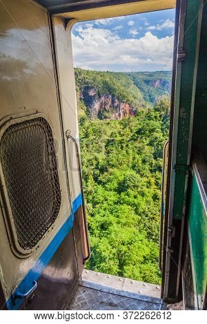 View From A Door Of A Train Crossing Gokteik Gok Teik Viaduct On The Railway Line Mandalay - Hsipaw,