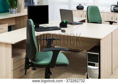 computer and laptop on the desk modern office