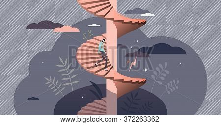 Depression Mental Feeling Spiral In Flat Tiny Persons Vector Illustration. Symbolic Emotional State