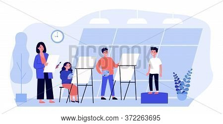 Young People Painting In Art Class. Model, Artist, Easel Flat Vector Illustration. Workshop And Fine