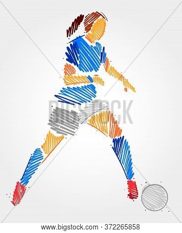 Blue And Grayscale Brush Strokes Of Woman Dominating The Ball In A Football Game Showing Her Concent