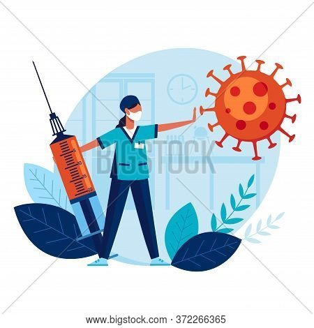 Doctor With Big Syringe And Vaccine Prevents Spread Of Terrible Coronavirus. Vaccination. Concept Me