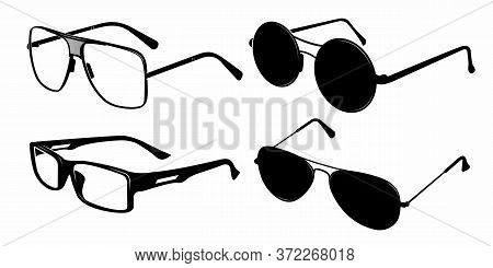 Glasses Silhouette. Retro Glasses, Eye Health Eyewear And Rim Sunglasses Silhouettes. Hipster Or Gee