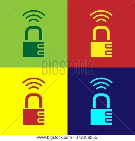 Pop Art Smart Safe Combination Lock Icon Isolated On Color Background. Combination Padlock. Security