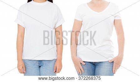 Woman White T Shirt Mockup, Set Empty Blank Tshirt, Girl In Blank T-shirt Copy Space, White Tshirt I