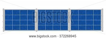Solar Fence. Photovoltaic Panels For Ecological Electricity Production. Solar Plates Collector Set.
