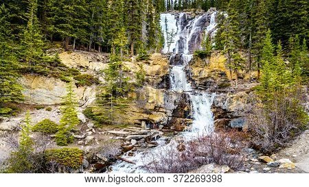 Tangle Falls In Jasper National Park At The Side Of The Columbia Icefields Parkway In The Canadian R