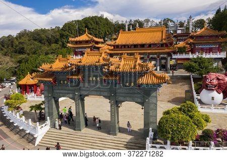 Nantou, Taiwan - December 9th, 2019: aerial view of famous landmark of Wenwu temple in Sun Moon Lake, Nantou, Taiwan
