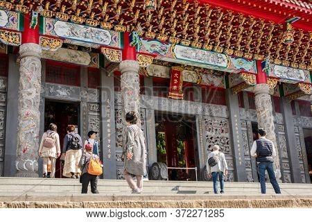 Nantou, Taiwan - December 9th, 2019: famous landmark of Wenwu temple in Sun Moon Lake, Nantou, Taiwan