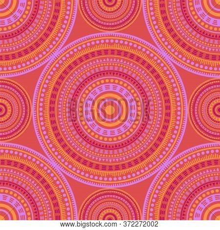 Persian Ethnic Motifs Seamless Pattern. Round Medallion Mandala Geometric Tiles. Textile Print Templ