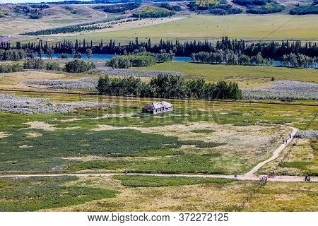 Historic Farm House On The Ranch. Glenbow Ranch Provincial Recreation Area, Alberta, Canada