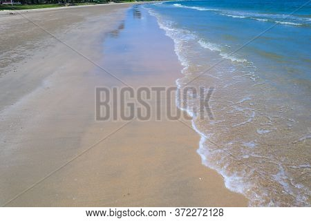 Beautiful Wave On The Beach, Clear Water, White Sand In Your Holiday At Andaman Sea Phuket Thailand.