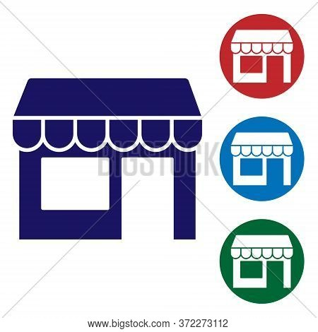 Blue Shopping Building Or Market Store Icon Isolated On White Background. Shop Construction. Set Ico