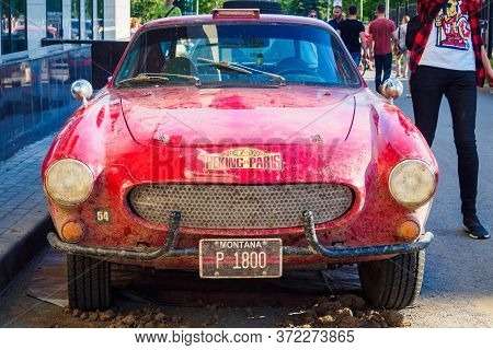 Front View Of Volvo P1800s, Swedish Sports Car 1968. The 7th Peking To Paris Motor Challenge. Ufa, R