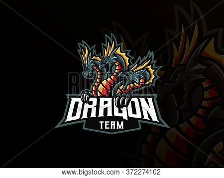 Dragon Mascot Sport Logo Design. Dragon Mascot Vector Illustration Logo. Dragon Hydra Mascot, Emblem