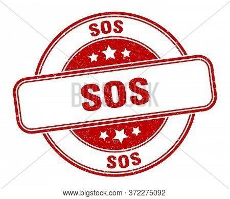 Sos Stamp. Sos Round Grunge Sign. Label