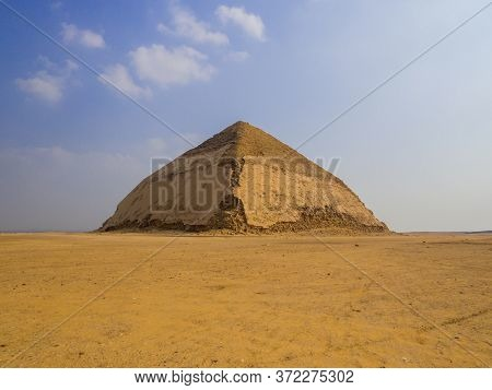 View Of The Bent Pyramid In Dahshur Necropolis, Cairo, Egypt