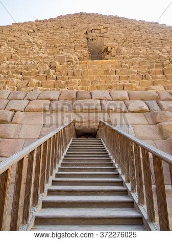 View Of The Entrance To The Pyramid Of Menkaure On The Giza Necropolis. In Cairo, Egypt