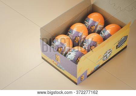Samut Prakan, Thailand - June 19, 2020 : Toy Eggs Surprise Mini Blocks Of Thai Car From Loz Creator