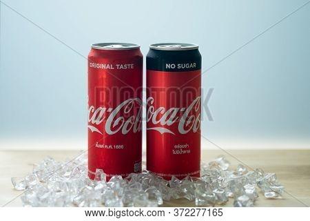 Samut Prakan, Thailand - June 19, 2020 : Coca-cola Zero Can (no Sugar) And Coca-cola Classic. Produc