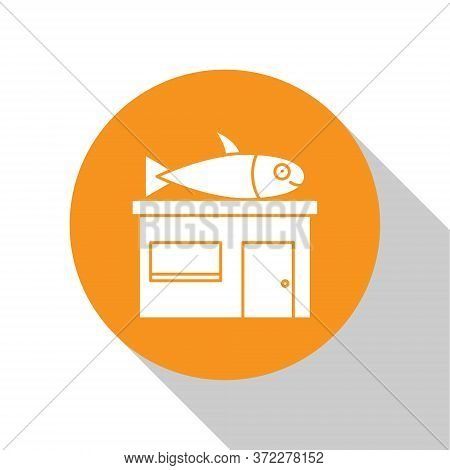 White Seafood Store Icon Isolated On White Background. Facade Of Seafood Market. Orange Circle Butto
