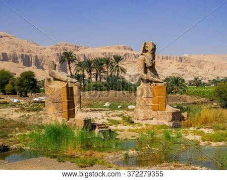 Royal Colossi, Mortuary Temple Of Amenhotep Iii, Luxor, Egypt