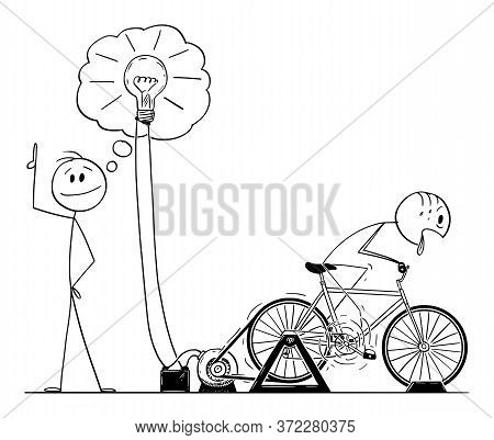 Vector Cartoon Stick Figure Drawing Conceptual Illustration Of Creative Man Or Businessman Taking Cr